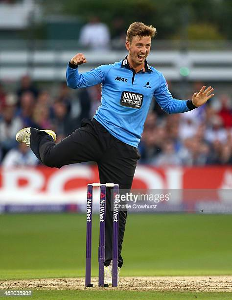 Will Beer of Sussex celebrates after claiming the wicket of Sam Billings of Kent during the Natwest T20 Blast match between Sussex Sharks and Kent...