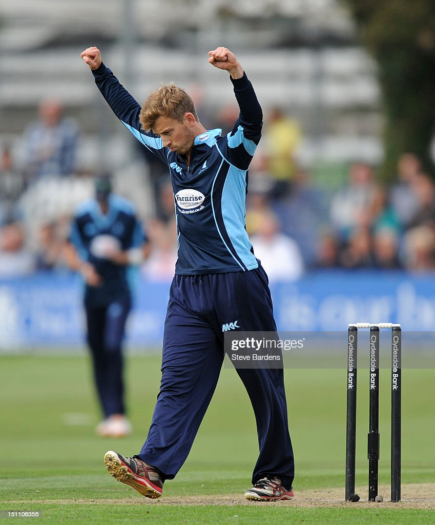 Will Beer of Sussex Sharks celebrates the wicket of Michael Carberry of Hampshire Royals during the Clydesdale Bank Pro40 semi final match between Sussex and Hampshire at the Probiz County Ground on September 1, 2012 in Hove, England.
