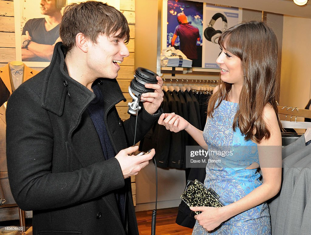 Will Best (L) and Laura Jackson attend the Panasonic Technics 'Shop To The Beat' Party hosted by George Lamb at French Connection, Oxford Circus, on March 13, 2013 in London, England.