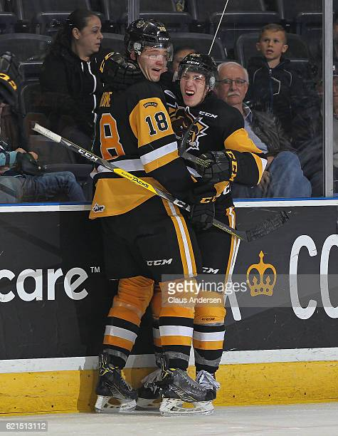 Will Bitten and Matthew Stome of the Hamilton Bulldogs celebrate Bitten's empty net goal against the London Knights during an OHL game at Budweiser...