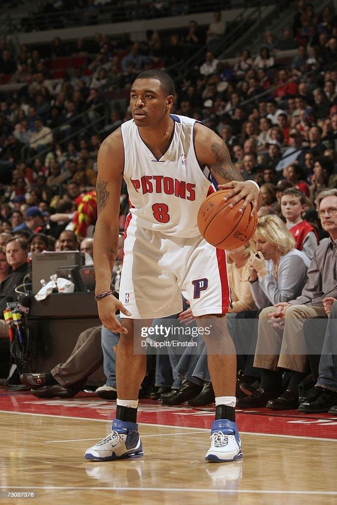 Will Blalock #8 of the Detroit Pistons looks to make a move during a game against the Indiana Pacers at the Palace of Auburn Hills on December 29, 2006 in Auburn Hills, Michigan. The Pacers won 93-92.
