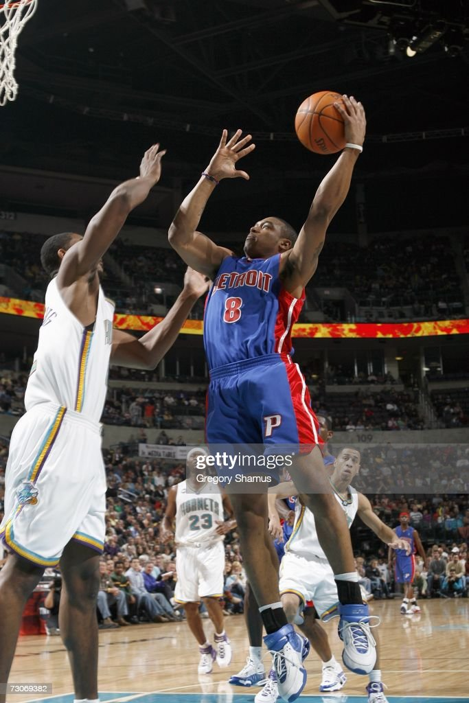 Will Blalock #8 of the Detroit Pistons puts a shot up against the New Orleans/Oklahoma City Hornets on January 4, 2007 at the Ford Center in Oklahoma City, Oklahoma.