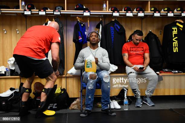 Will Brooks sits backstage during the UFC 210 event at the KeyBank Center on April 8 2017 in Buffalo New York