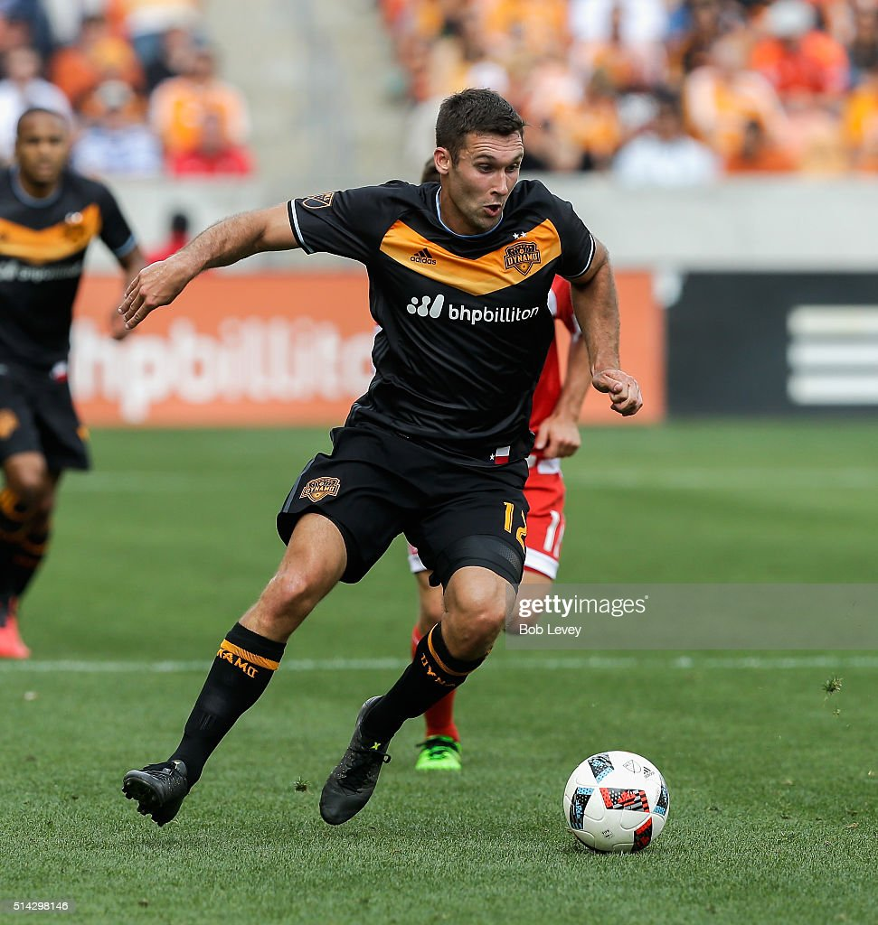 Will Bruin #12 of Houston Dynamo controls the ball against the New England Revolution at BBVA Compass Stadium on March 6, 2016 in Houston, Texas.