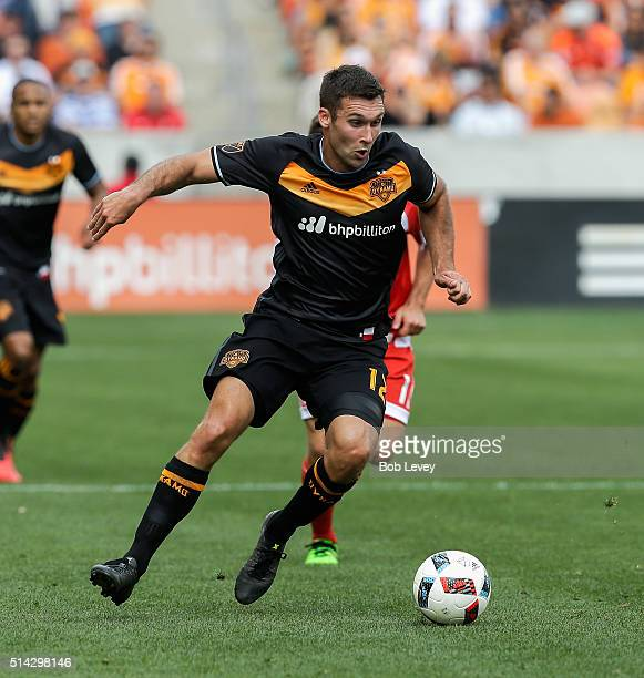 Will Bruin of Houston Dynamo controls the ball against the New England Revolution at BBVA Compass Stadium on March 6 2016 in Houston Texas