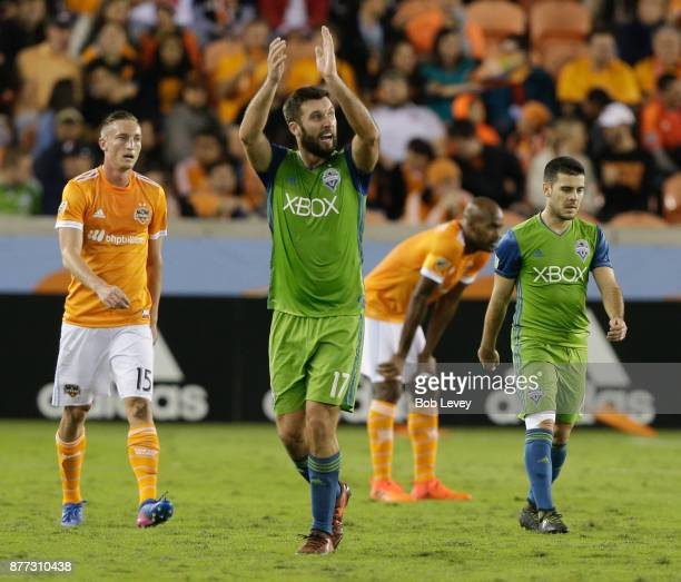 Will Bruin of Seattle Sounders applaudes as he is substituted to the disdain of the crowd at BBVA Compass Stadium on November 21 2017 in Houston Texas