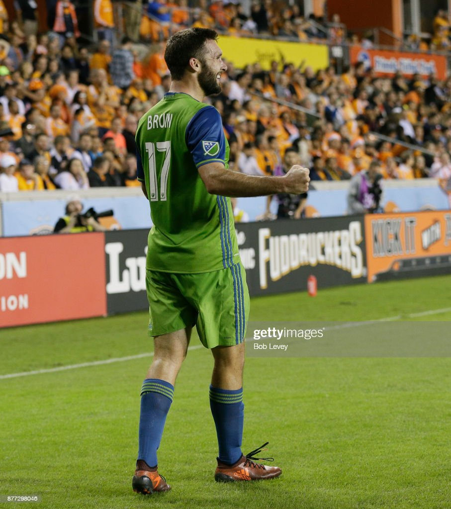 Will Bruin #17 of Seattle Sounders celebrates a goal in the first half against the Houston Dynamo at BBVA Compass Stadium on November 21, 2017 in Houston, Texas.