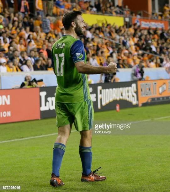 Will Bruin of Seattle Sounders celebrates a goal in the first half against the Houston Dynamo at BBVA Compass Stadium on November 21 2017 in Houston...