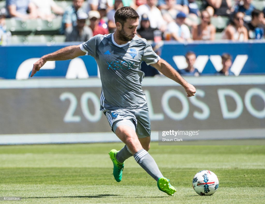 Will Bruin #17 of Seattle Sounders takes a shot during Los Angeles Galaxy's MLS match against Seattle Sounders at the StubHub Center on April 23, 2017 in Carson, California. The Seattle Sounders won the match 3-0