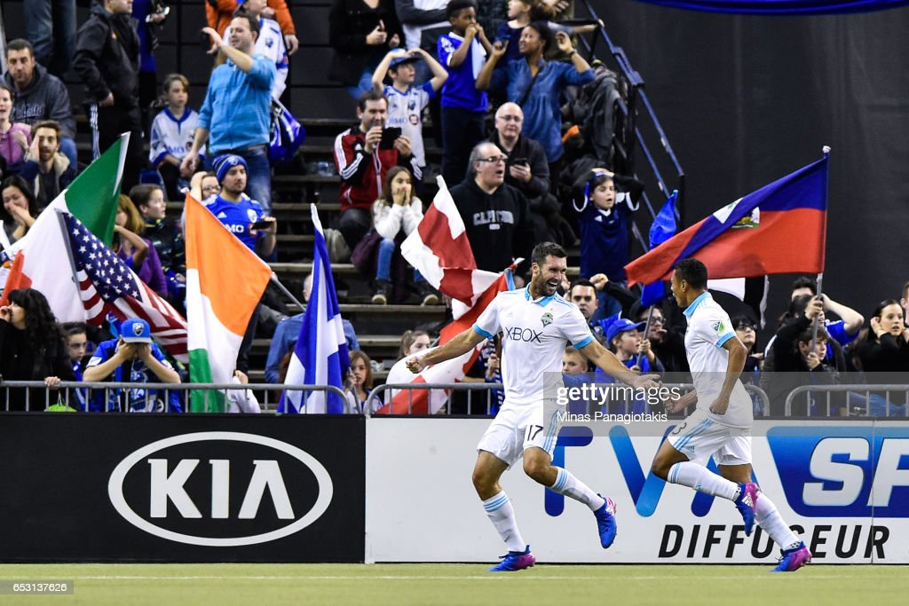 Will Bruin #17 of the Seattle Sounders celebrates his goal late in the second half during the MLS game against the Montreal Impact at Olympic Stadium on March 11, 2017 in Montreal, Quebec, Canada. The Seattle Sounders FC and the Montreal Impact end up in a 2-2 draw. (Photo by Minas Panagiotakis/Getty Images)'n'n