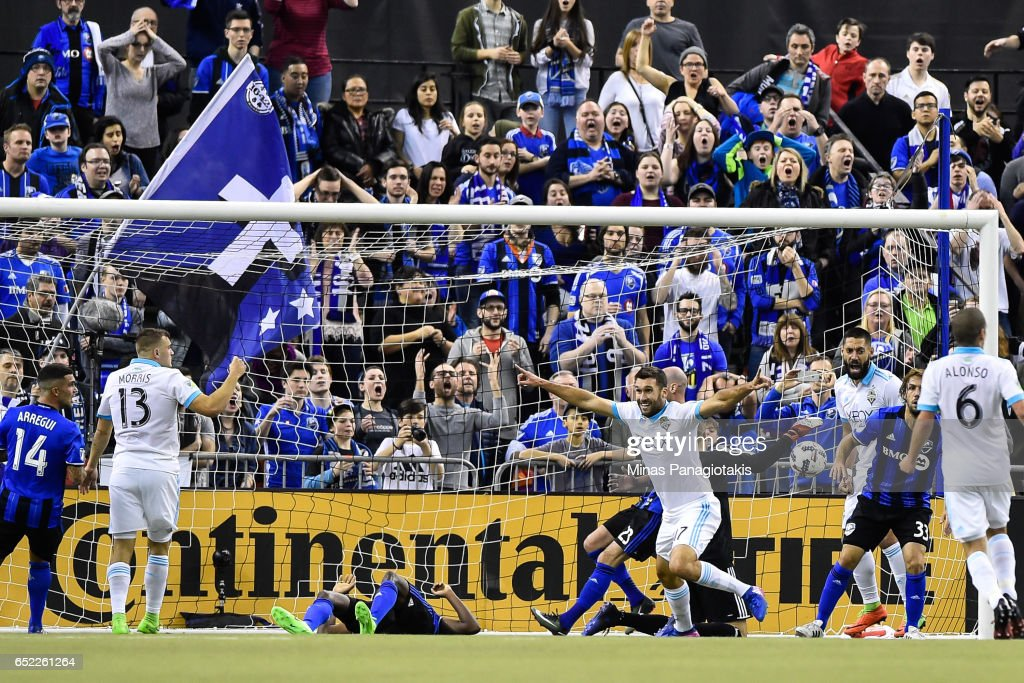 Will Bruin #17 of the Seattle Sounders ties the game in extra time during the MLS game against the Montreal Impact at Olympic Stadium on March 11, 2017 in Montreal, Quebec, Canada. The Seattle Sounders FC and the Montreal Impact end up in a 2-2 draw.
