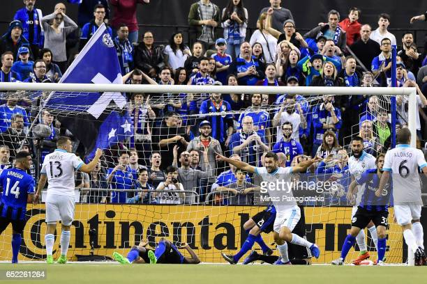 Will Bruin of the Seattle Sounders ties the game in extra time during the MLS game against the Montreal Impact at Olympic Stadium on March 11 2017 in...
