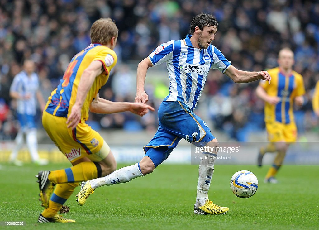 Will Buckley of Brighton attacks during the npower Championship match between Brighton & Hove Albion and Crystal Palace at The Amex Stadium on March 17, 2013 in Brighton, England,