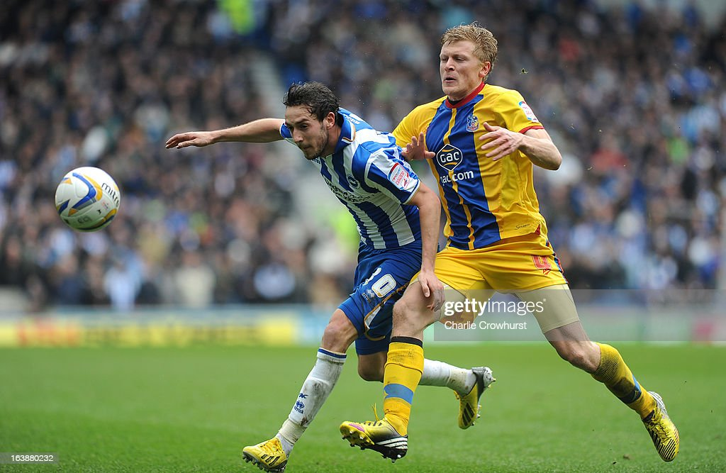 Will Buckley of Brighton battles with Jonathan Parr of Crystal Palace during the npower Championship match between Brighton & Hove Albion and Crystal Palace at The Amex Stadium on March 17, 2013 in Brighton, England,