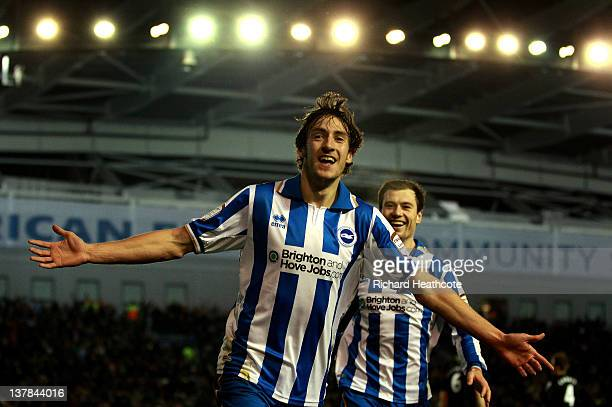 Will Buckley of Brighton celebrates after scoring the opening goal during the FA Cup fourth round match between Brighton and Hove Albion and...