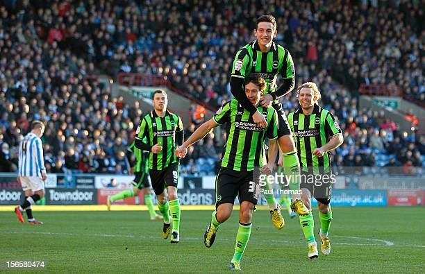 Will Buckley of Brighton celebrates his goal with team mate Lewis Dunk during the npower Championship match between Huddersfield Town and Brighton...