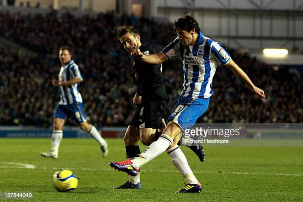 Will Buckley of Brighton scores the opening goal despite the attentions of Yohan Cabaye of Newcastle during the FA Cup fourth round match between...