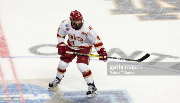 Will Butcher of the Denver Pioneers skates against the Notre Dame Fighting Irish during game two of the 2017 NCAA Division I Men's Hockey Frozen Four...