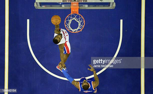 Will Bynum of Detroit Pistons shoots a basket during the NBA London Live 2013 game between New York Knicks and the Detroit Pistons at the O2 Arena on...