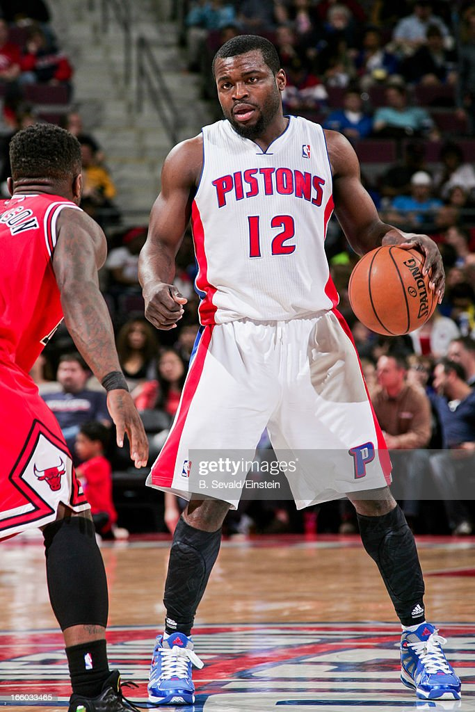 <a gi-track='captionPersonalityLinkClicked' href=/galleries/search?phrase=Will+Bynum&family=editorial&specificpeople=212891 ng-click='$event.stopPropagation()'>Will Bynum</a> #12 of the Detroit Pistons advances the ball against the Chicago Bulls on April 7, 2013 at The Palace of Auburn Hills in Auburn Hills, Michigan.