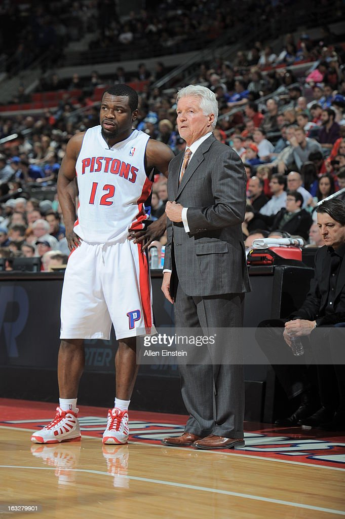 Will Bynum #12 of the Detroit Pistons confers with Assistant Coach Brian Hill during the game between the Detroit Pistons and the Atlanta Hawks on March 6, 2013 at The Palace of Auburn Hills in Auburn Hills, Michigan.