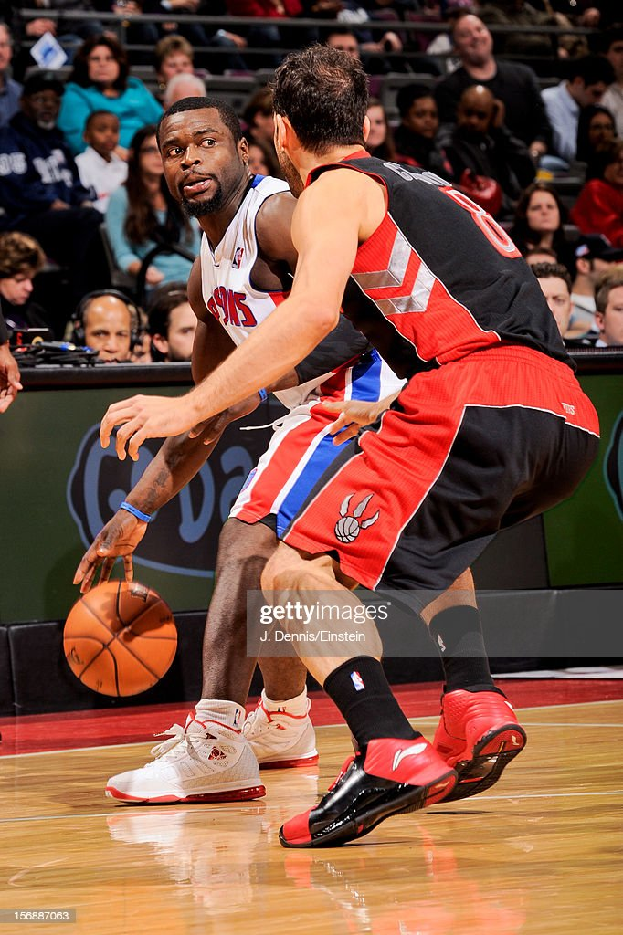 <a gi-track='captionPersonalityLinkClicked' href=/galleries/search?phrase=Will+Bynum&family=editorial&specificpeople=212891 ng-click='$event.stopPropagation()'>Will Bynum</a> #12 of the Detroit Pistons controls the ball against Jose Calderon #8 of the Toronto Raptors on November 23, 2012 at The Palace of Auburn Hills in Auburn Hills, Michigan.