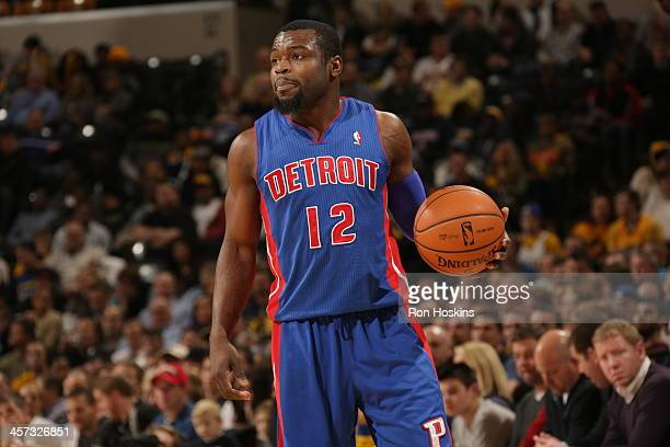Will Bynum of the Detroit Pistons controls the ball against the Indiana Pacers at Bankers Life Fieldhouse on December 16 2013 in Indianapolis Indiana...