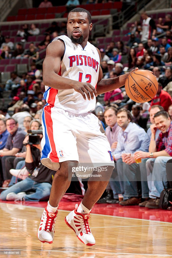 Will Bynum #12 of the Detroit Pistons controls the ball against the Washington Wizards on February 13, 2013 at The Palace of Auburn Hills in Auburn Hills, Michigan.