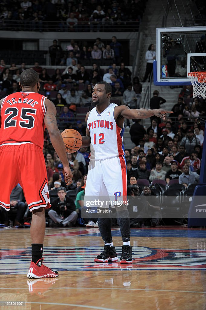 Will Bynum #12 of the Detroit Pistons controls the ball against the Chicago Bulls on November 27, 2013 at The Palace of Auburn Hills in Auburn Hills, Michigan.