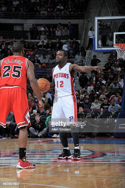 Will Bynum of the Detroit Pistons controls the ball against the Chicago Bulls on November 27 2013 at The Palace of Auburn Hills in Auburn Hills...