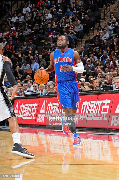 Will Bynum of the Detroit Pistons controls the ball against the San Antonio Spurs at the ATT Center on February 26 2014 in San Antonio Texas NOTE TO...