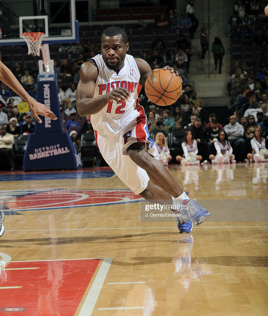 <a gi-track='captionPersonalityLinkClicked' href=/galleries/search?phrase=Will+Bynum&family=editorial&specificpeople=212891 ng-click='$event.stopPropagation()'>Will Bynum</a> #12 of the Detroit Pistons cuts to the basket against the Washington Wizards during the game on December 21, 2012 at The Palace of Auburn Hills in Auburn Hills, Michigan.