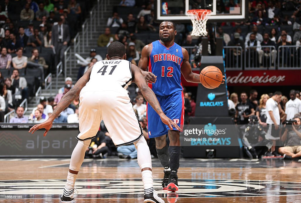 Will Bynum #12 of the Detroit Pistons dribbles against Tyshawn Taylor #41 of the Brooklyn Nets on April 17, 2013 at the Barclays Center in the Brooklyn borough of New York City.