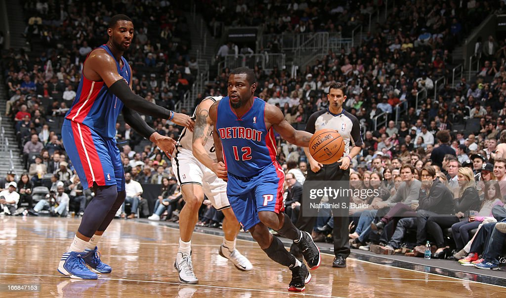 Will Bynum #12 of the Detroit Pistons dribbles in a game against the Brooklyn Nets April 17, 2013 at the Barclays Center in the Brooklyn borough of New York City.