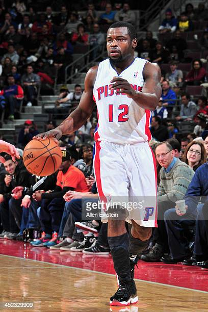 Will Bynum of the Detroit Pistons dribbles the ball against the Chicago Bulls on November 27 2013 at The Palace of Auburn Hills in Auburn Hills...