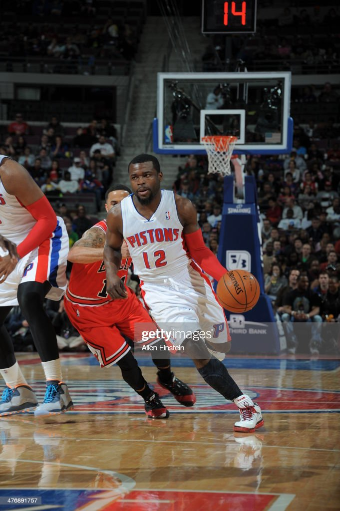 Will Bynum #12 of the Detroit Pistons dribbles the ball against the Chicago Bulls during the game on March 5, 2014 at The Palace of Auburn Hills in Auburn Hills, Michigan.