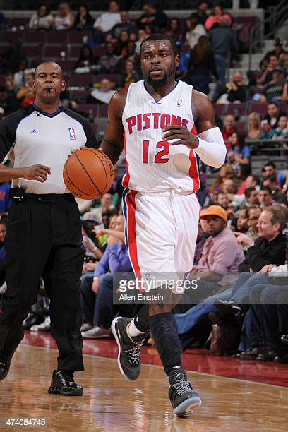 Will Bynum of the Detroit Pistons dribbles up the court against the Atlanta Hawks during the game on February 21 2014 at The Palace of Auburn Hills...