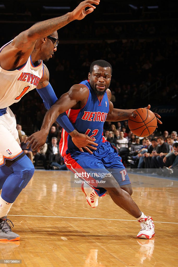 Will Bynum #12 of the Detroit Pistons drives against Amar'e Stoudemire #1 of New York Knicks on February 4, 2013 at Madison Square Garden in New York City.