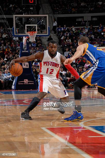 Will Bynum of the Detroit Pistons drives against the Golden State Warriors on February 24 2014 at The Palace of Auburn Hills in Auburn Hills Michigan...