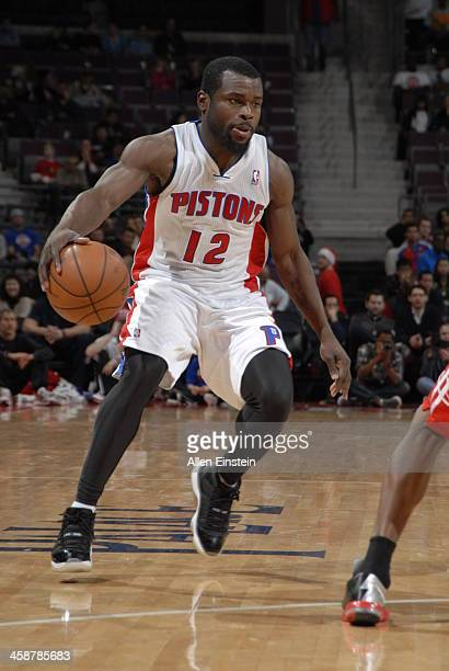 Will Bynum of the Detroit Pistons drives against the Houston Rockets on December 21 2013 at The Palace of Auburn Hills in Auburn Hills Michigan NOTE...