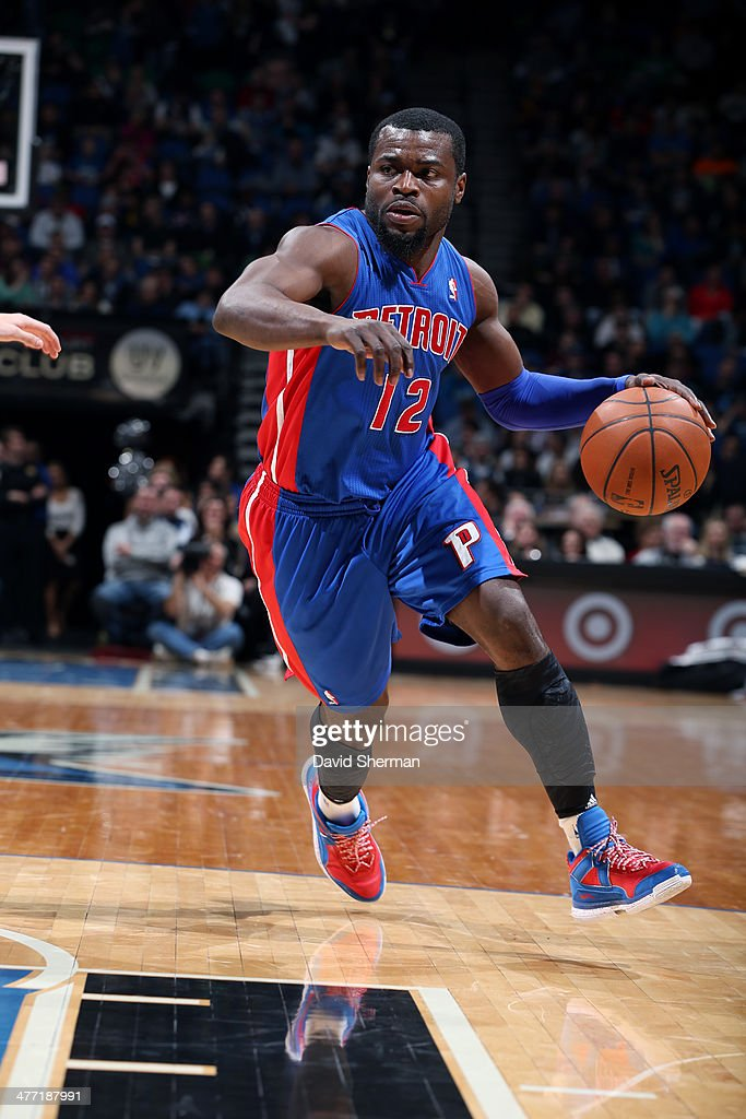 Will Bynum #12 of the Detroit Pistons drives against the Minnesota Timberwolves on March 7, 2014 at Target Center in Minneapolis, Minnesota.