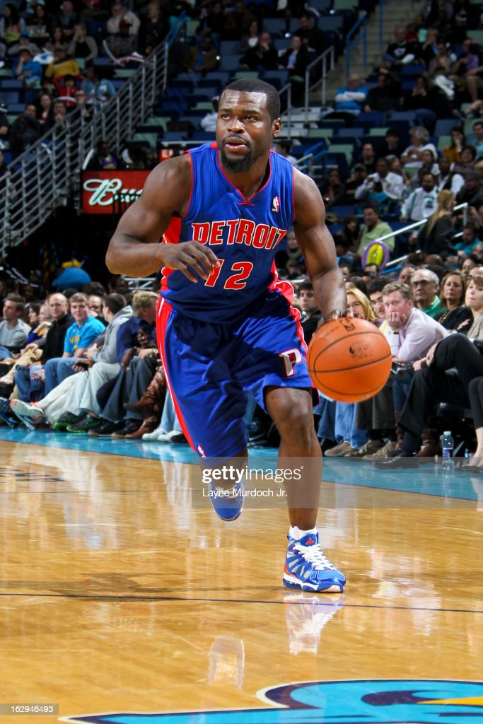 <a gi-track='captionPersonalityLinkClicked' href=/galleries/search?phrase=Will+Bynum&family=editorial&specificpeople=212891 ng-click='$event.stopPropagation()'>Will Bynum</a> #12 of the Detroit Pistons drives against the New Orleans Hornets on March 1, 2013 at the New Orleans Arena in New Orleans, Louisiana.