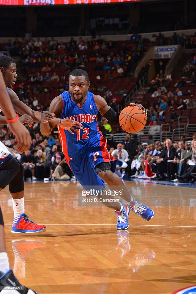 <a gi-track='captionPersonalityLinkClicked' href=/galleries/search?phrase=Will+Bynum&family=editorial&specificpeople=212891 ng-click='$event.stopPropagation()'>Will Bynum</a> #12 of the Detroit Pistons drives the ball during the game between Detroit Pistons and the Philadelphia 76ers at the Wells Fargo Center on November 14, 2012 in Philadelphia, Pennsylvania.