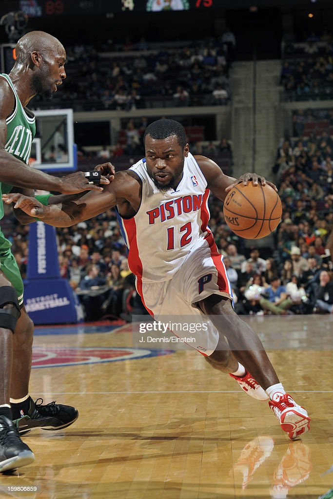 Will Bynum #12 of the Detroit Pistons drives to the basket against Kevin Garnett #5 of the Boston Celtics on January 20, 2013 at The Palace of Auburn Hills in Auburn Hills, Michigan.