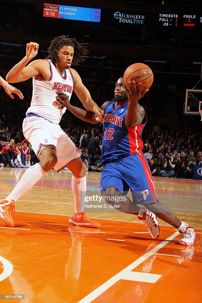 <a gi-track='captionPersonalityLinkClicked' href=/galleries/search?phrase=Will+Bynum&family=editorial&specificpeople=212891 ng-click='$event.stopPropagation()'>Will Bynum</a> #12 of the Detroit Pistons drives to the basket against the New York Knicks on February 4, 2013 at Madison Square Garden in New York City.