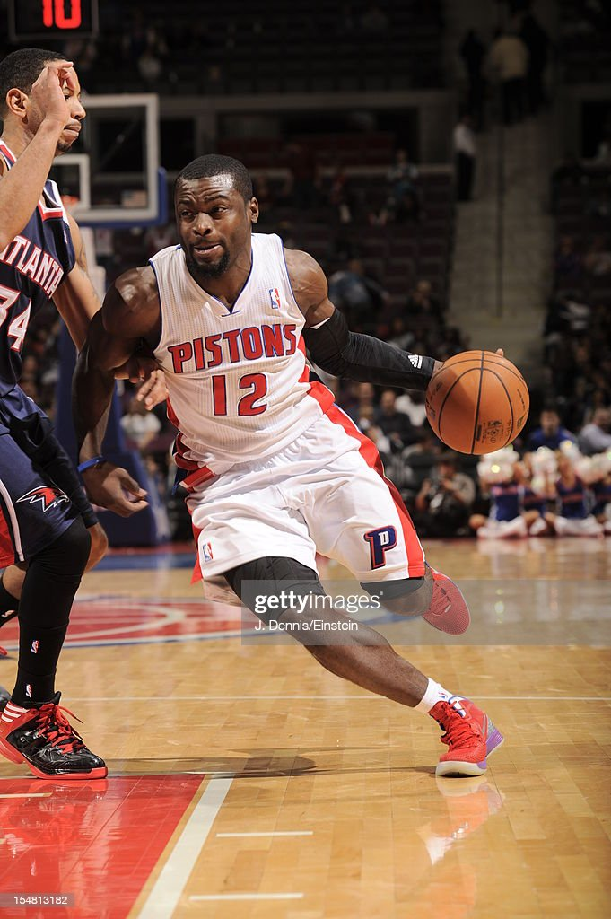 Will Bynum #12 of the Detroit Pistons drives to the basket vs the Atlanta Hawks during the pre-season game on October 26, 2012 at The Palace of Auburn Hills in Auburn Hills, Michigan.