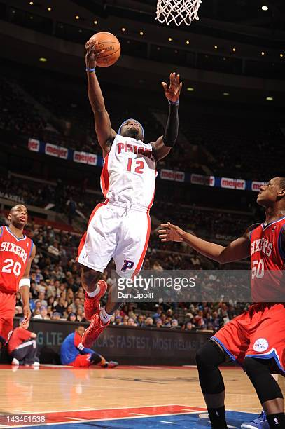 Will Bynum of the Detroit Pistons goes to the basket during the game between the Detroit Pistons and the Philadelphia 76ers on April 26 2012 at The...