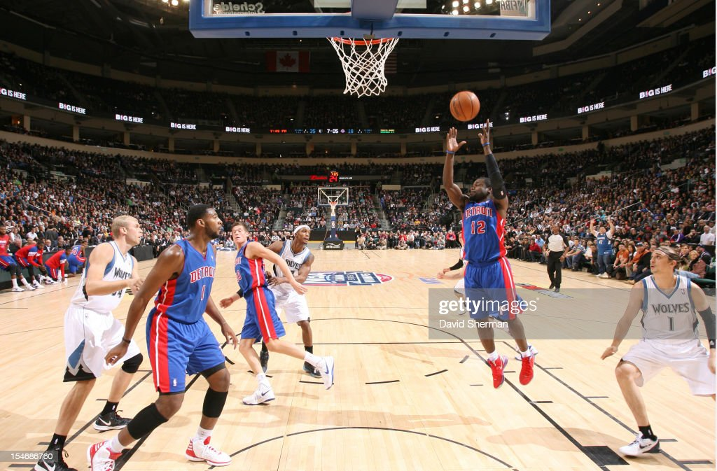 Will Bynum #12 of the Detroit Pistons goes to the basket during the game between the Minnesota Timberwolves and the Detroit Pistons during the NBA preseason as part of NBA Canada Series 2012 on October 24, 2012 at the MTS Centre in Winnipeg, Manitoba, Canada.