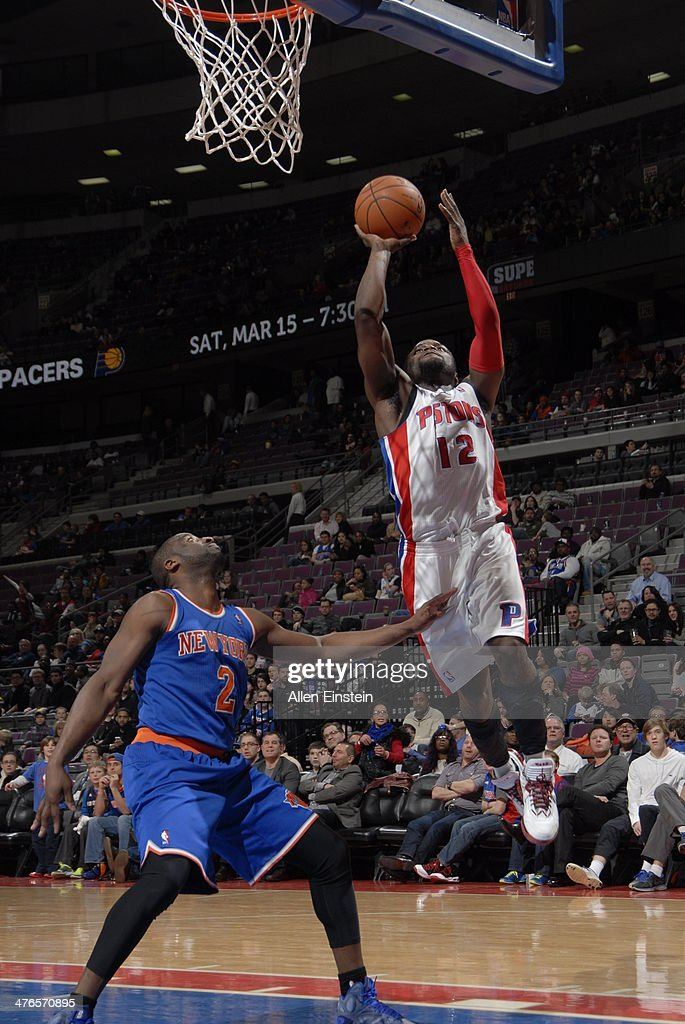 <a gi-track='captionPersonalityLinkClicked' href=/galleries/search?phrase=Will+Bynum&family=editorial&specificpeople=212891 ng-click='$event.stopPropagation()'>Will Bynum</a> #12 of the Detroit Pistons goes up for a shot during a game against the New York Knicks on March 3, 2014 at The Palace of Auburn Hills in Auburn Hills, Michigan.