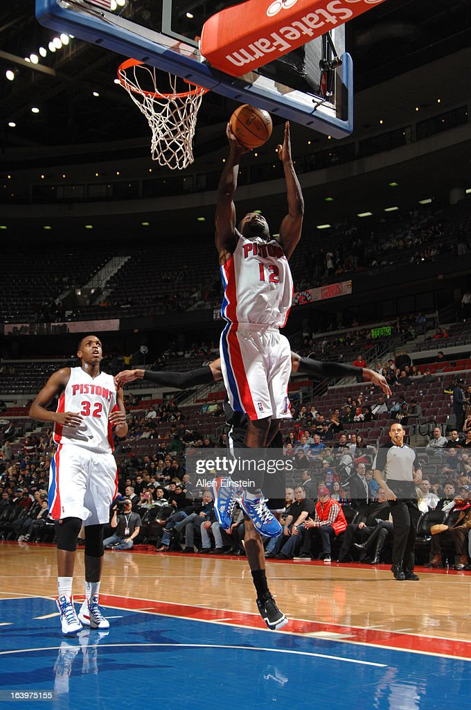 Will Bynum #12 of the Detroit Pistons grabs a rebound against the Brooklyn Nets on March 18, 2013 at The Palace of Auburn Hills in Auburn Hills, Michigan.